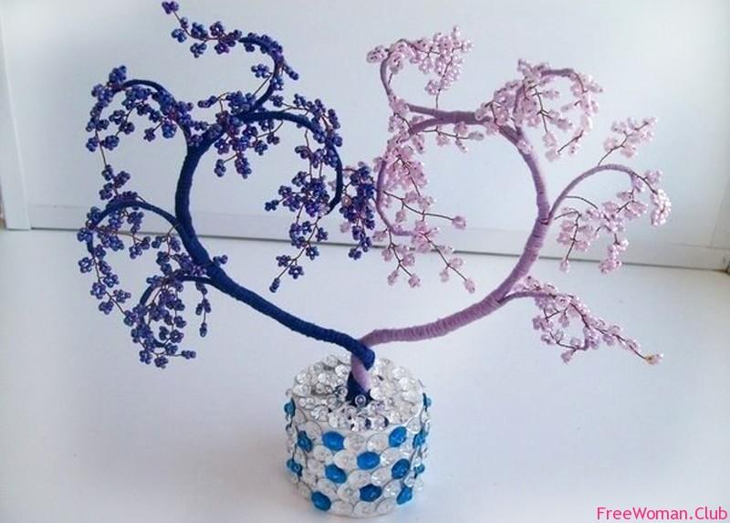 Пошаговое дерево из бисера