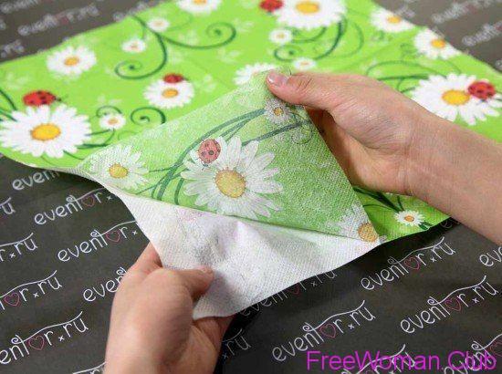 Как сделать красивый картон из салфетки