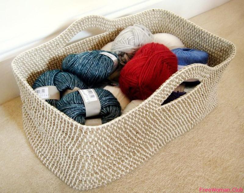 Вязание корзин из шнура